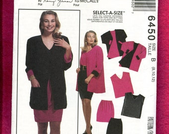 McCalls 6450 Reversible Rolled Sleeve Jacket Tank Top & Skirt or Shorts  Size 8 10 12  UNCUT