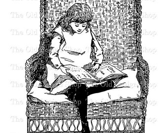 Girl Reading Clip Art Vintage Printable Illustration Graphics Digital Download Transfer Image JPG PNG