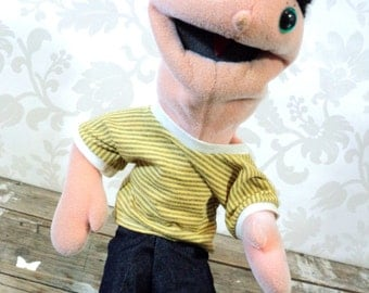 Hand Puppet doll, plush, soft, moving mouth, boy, teenager, sesame street style
