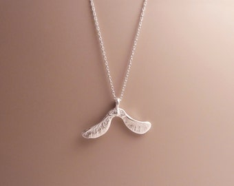 Tiny Silver Mountain Maple Seed Necklace (Double)