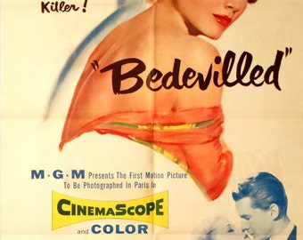 "Bedevilled. 1955 Original 27"" x41"" U. S. Theater Movie Poster. Bad Girl Crime Romance. Anne Baxter, Steve Forrest, Simone Renant,"
