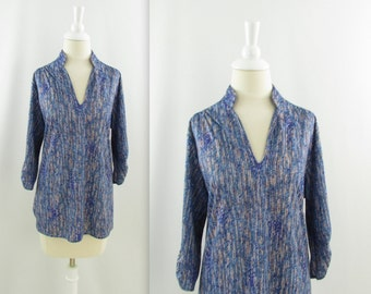 Blue Crush Tunic - Vintage 1970s Womens Chevron Print Top in Large xLarge