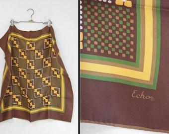ECHO Brown Scarf 1970s Peck & Peck // Silk Green Gold Digital Floral