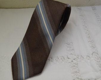 Vintage Mens Neck Tie Silk Polyester Blend Brown Blue Diagonal Striped Earth Tones