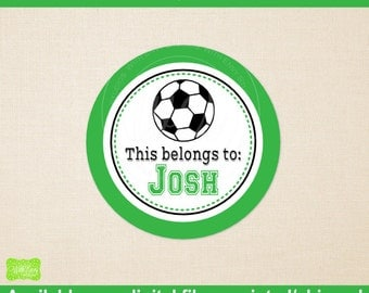 Personalized Soccer Name Stickers -  Soccer Name Labels - Name Stickers - School Name Sticker - Sports Stickers - Digital & Printed