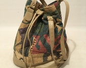 Vintage 90s Bucket Bag Aztec Western Purse Strappy Medium Size
