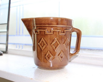 Vintage Stoneware Pitcher Brown Glazed 1940s Farmhouse Decor