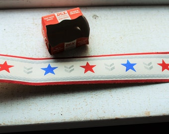 Vintage 1940s Wallpaper Border Red White and Blue Stars and Chevrons Dex Brand Brigade Unused Kitchen Wall Paper