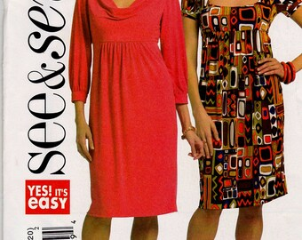 BUTTERICK SEE&SEW Pattern B5202 Empire Waist Dress Misses Sz 6-12 or 14-20  Uncut Factory Folded