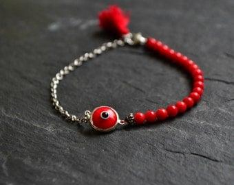 Evil Eye Bracelet, Red Coral Bracelet, Sterling Silver Layering Bracelet, Gemstone Minimal Bracelet, Eye Charm Bracelet, Good Luck Jewelry