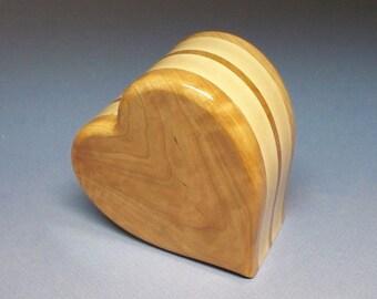Heart Urn - Cherry & Maple  Cremation Urn, Cremation Urn, Unique Urn, Small Urn, Wood Urn, Heart Urn, Wooden Urn