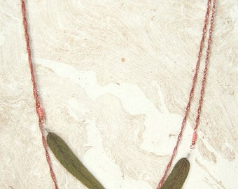 Natural Leaf Jewelry - Green Sage Pressed Leaf Necklace with Copper & Coral Czech Glass Beads