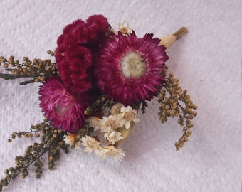 Burgundy and White Dried Flower Boutonniere Flowers For Wedding or Prom