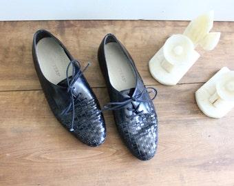 Vintage Woven Leather Lace Oxfords Sz 8.5