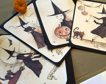 Set of 4, Halloween is Coming, A6 Mini Prints,
