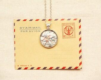 Personalized Paris Necklace -Paris Pendant Necklace -France, Europe, Vintage Map Pendant Series (M012)