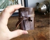 Mini Leather Journal, Brown Hand-Bound 2 x 3 Journal by The Orange Windmill 1707