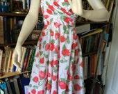 Vintage Red Rose Sleeveless Dress Pin up Rockabilly Retro 1950