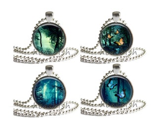 FAIRY TALE Enchanted FOREST Glass Pendant Charm Accessory - Necklace Keychain Magnet Cell Phone Strap - Butterfly Faerie Magic Folklore Myth