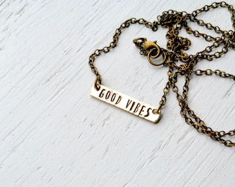 SALE Good Vibes Brass Bar Necklace