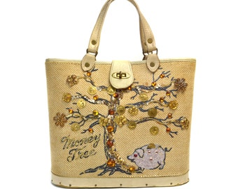 Vintage Money Tree Piggy Bank Canvas Bucket Purse by Claire Fashions // 1970s Enid Collins Style Coins & Jewels Ivory Beige Tote Bag Handbag