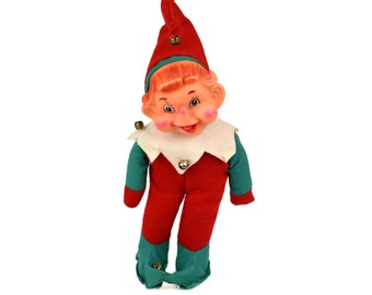 Extra Large Vintage Christmas Elf Doll // 1960's Noel Japan // Red Pixie Knee Hugger Ornament Decoration, Holiday Game Tradition