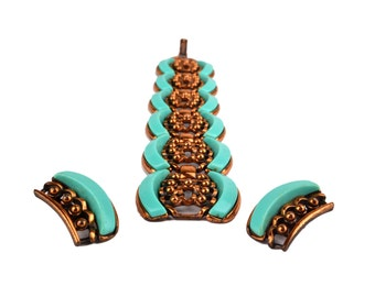 Mid-century Turquoise & Copper tone Bracelet and Clip Earring Set // 1950's Modernist Abstract Costume Jewelry Demi Parure
