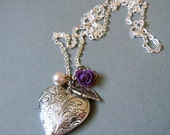 Heart Locket.Victorian Floral Style Antiqued  Silver Heart Small Size Locket Necklace--Valentine's Gift.Christmas gift