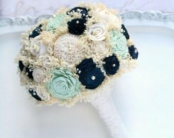 Wedding Bouquet - Mint, Navy, Lace // Bridal Bouquet, Wedding Flowers, Navy Blue, Mint Green, Babys Breath Bouquet, Bridal Flower Bouquet