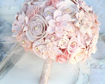 Blush Wedding Bouquet // Blush Bridal Bouquet, Pink, Fabric Flowers, Fabric Bouquet, Sola Flowers, Shabby Chic, Vintage Wedding, Bouquet