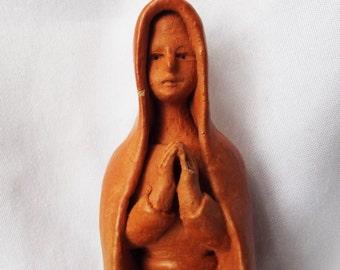 Vintage Handmade Virgin Mary Sculpted Clay Brazil