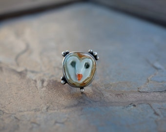 Sterling Silver Owl Ring. Porcelain owl. Barn owl rings. Adjustable Rings. Crescent moon. Cute owl jewelry. Unique rings. Owl Face, head.