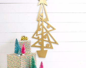 Mid Century Style Wooden Cutout Christmas Tree -Danish Modern Christmas Decoration -Retro Style Christmas Decor -Modern Minimalist Christmas