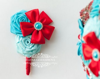 boutonniere for red turquoise blue brooch bouquet