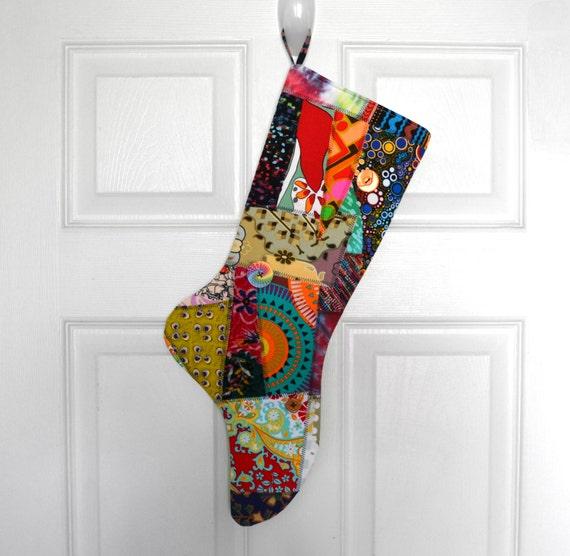 Christmas Stocking Elf Stocking Holiday Stocking Patchwork Stocking Crazy Quilt Stocking Nontraditional Stocking Crazy Quilt Patchwork Sock