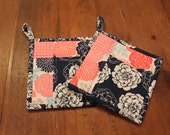 Modern Quilted Potholder Set, Navy, Pink, Blue, Greyish-Tan, and White Floral, Flowers, Hot pad,  pot holder, trivet, insulated