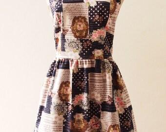 Retro Dress Romantic Summer Dress, Floral Polka Dot Navy Dress, Kitsch Dress, Shoulder Straps, Navy Sundress, Garden Dress, XS-XL,Custom