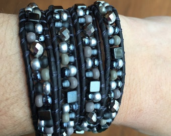 Black Leather Wrap Bracelet with Pewter, Silver and Gray Glass Beads