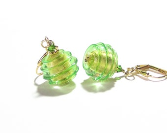 Murano Glass Green Gold Earrings, Gold Filled Leverback Earrings, Italian Glass Jewelry, Clip Earrings. Lampwork Earrings, Gifts For Her
