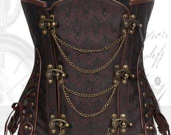 brown corset steampunk underbust corset under bust steampunk corset