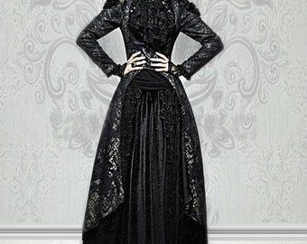 Gothic Black and Matt Golden Printing Coat with Long Tail goth tunic Goth Dress gothic coat granny chic New Years Eve