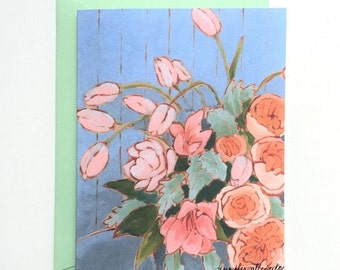 Tulips floral note card flower still life blank card