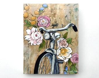 Bicycle painting original bike wall art bike with flowers - Motorless City