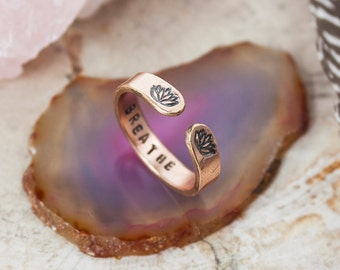 Breathe rose gold secret message ring. Rose gold hand stamped quote ring. Inspirational quote ring. Skinny stacking ring. Zenned Out