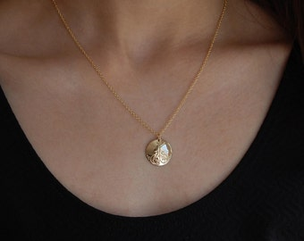 Hand Stamped Gold Necklace Gold Minimalist Necklace Gold Filled Modern Necklace