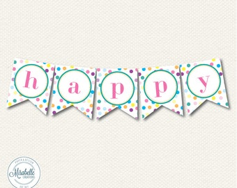 PRINTABLE PARTY BANNER - Rainbow Sprinkles Collection - Mirabelle Creations