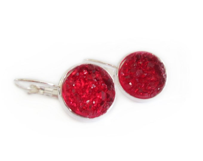 Ruby Red Crystal Faux Druzy Leverback Earrings