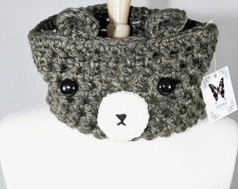 Grey Bear Crochet Cowl -Crochet Scarf-Neck Warmer-Kawaii-Unique Cowl-Women Scarf-Bear Scarf-Animal Scarf-Christmas Gift-Winter Scarf