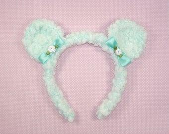 Fuzzy Bear headband-Lt. Turquoise/White-Lolita Headband-fairy kei-Mori Kei-Halloween Christmas Gift-Geek
