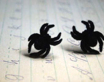 Spider Earrings -- Black Spider Studs, Fuzzy Spider Studs, Halloween, You choose the color!
